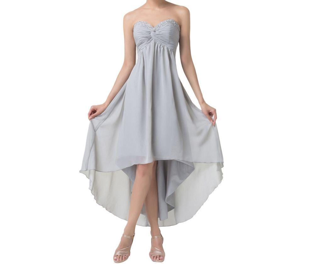Corto delantero Largo trasero Vestidos de noche Ocasión especial Vestidos de una línea Vestidos de fiesta vestidos de fiesta de color gris alto y bajo HY1378