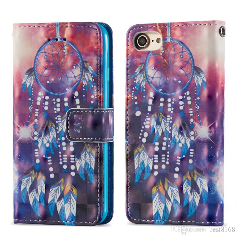 3D Leather Wallet Case For Iphone XR XS MAX X 8 7 6 SE 5 Note 9 Sexy Girl Dreamcatcher Butterfly Owl Bear Sea Lace Flip Cover Card Cartoon