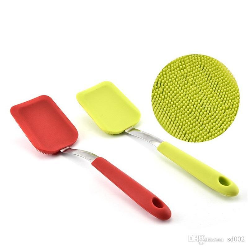 Brosse de nettoyage pour expert Multifonction à suspendre New Silicone Décontamination Acier Inoxydable Scrub Dish Pinceaux Haute Qualité 7 8cx V