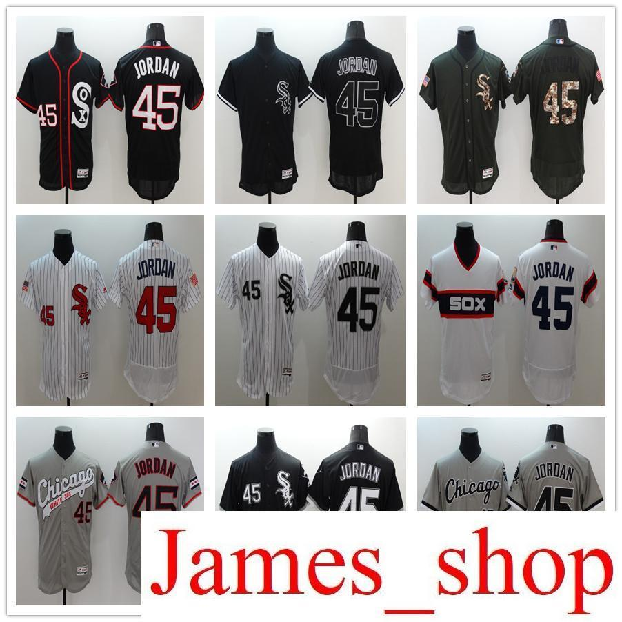 100% authentic 96382 ee70b Online Store Wholesale Co White Sox 45 Michael Jord MENS Baseball Jerseys  White Black Gray Embroidery logos Jersey Accept Mix Orders