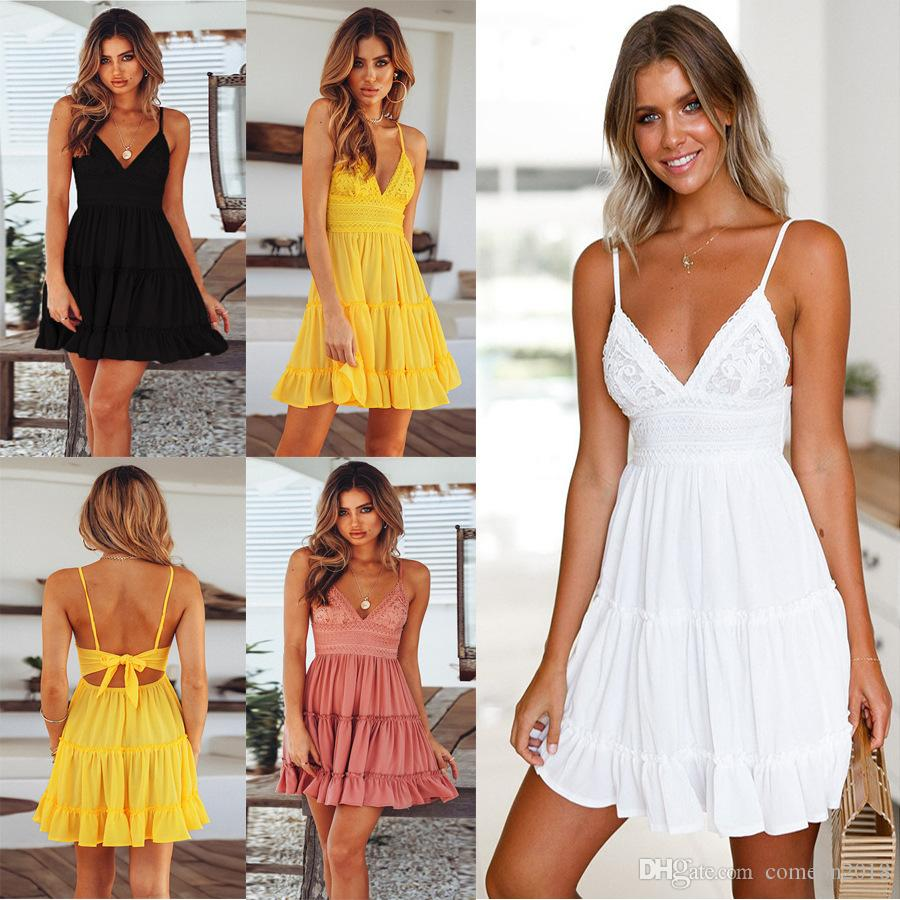f035f19ce8d New Arrival Womens Summer Dress Bow Backless Solid V Neck Spaghetti ...