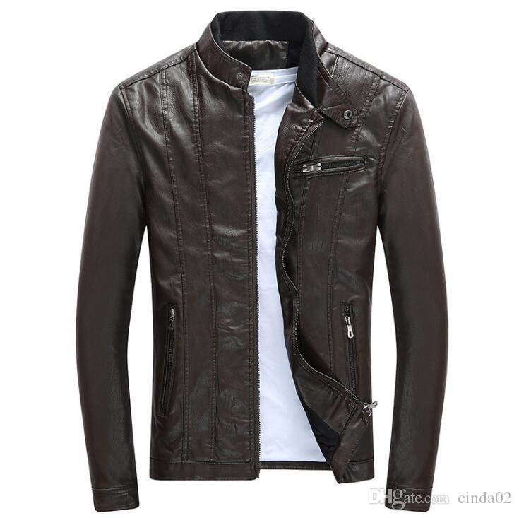 Spring Autumn Mens PU Leather Jackets Stand Collar Coats Male Motorcycle Slim Outerwear Mens Brand Clothing