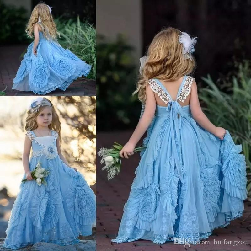 769b7cf6f46b7 Baby Blue Spring Boho Flower Girl Dresses For Weddings Lace Appliques Sash  Girls Pageant Gowns Sexy Back Lace Up First Communion Dress