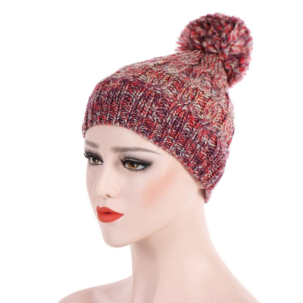 Women LWool Yarn Hair Ball Stretch Turban Hat Hair Patchwork Hats Warm  Beanies Ring Scarf Pompoms Winter Hats Knitted Caps UK 2019 From Longanguo c4a4ef740