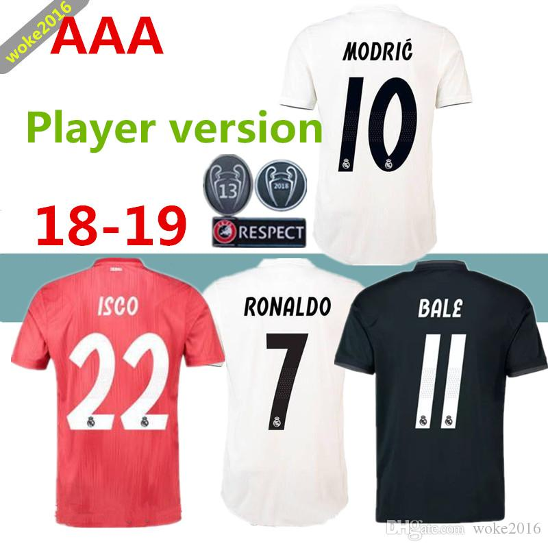 Jugador Versión 2018 Sudadera De Fútbol Roja Casa Del Real Madrid 18 19  Real Madrid BENZEMA BALE SERGIO RAMOS ISCO NAVAS ASENSIO Camiseta Negra Por  Woke2016 ... 1c128cdb8a944