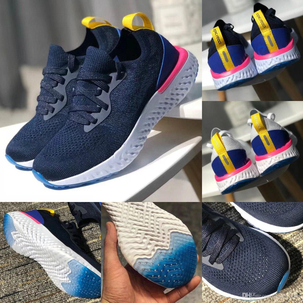 0e25cdb9c12 2018 New Kids Sneakers Epic React Running Shoes Children Athletic Shoes  Boys Girls Shoes Trainer Sports Sneaker Blue White 28 35 Toddler Tennis Shoes  Sports ...