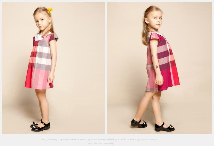 2016 새로운 2-6T 여름 여자 의류 유행 격자 무늬 아이가 여자 턴 다운 칼라 잉글랜드 스타일 유아 소녀 드레스 드레스