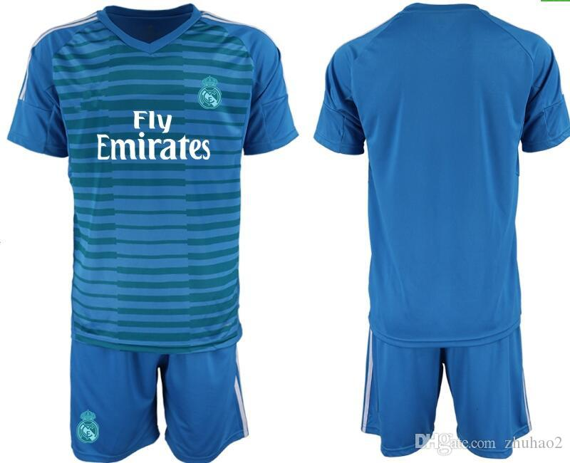 new concept c0953 4ee20 2018/19 Real Madrid Adult Soccer Goalkeeper Uniforms #25 COURTOIS #1 NAVAS  BALE RAMOS MORATA ISCO Men Jerseys uniforms kit S-XL