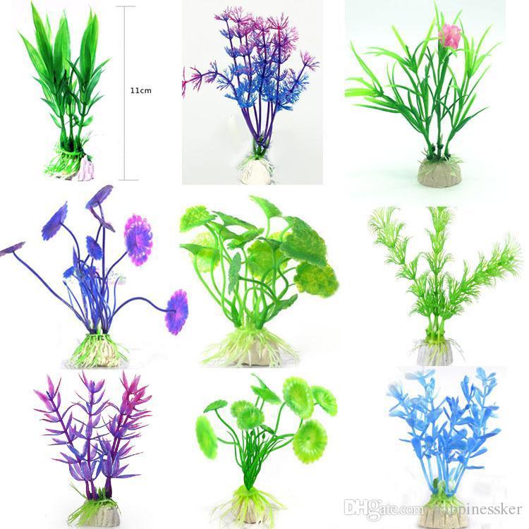 수족관 플라스틱 식물 수족관 수족관 수족관 조경 정말 물 수족관 식물은 가짜 플라스틱 꽃 장식 전경을 설정
