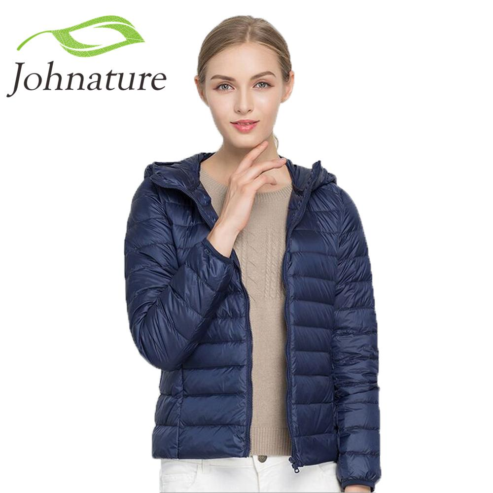 153d74cc2fa 2019 Johnature 2018 Hooded 90% White Duck Jacket Autumn Winter New Warm Slim  Zipper Women Fashion Light Down Coat S 3XL Y18110502 From Zhengrui01, ...