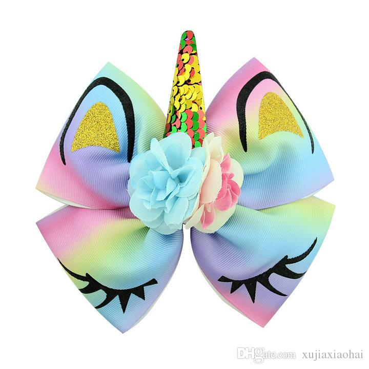 6.3 Inch Flipping paillette Gilding Unicorn flower polyester ribbed bow hairpin Kawaii baby girl hair accessories