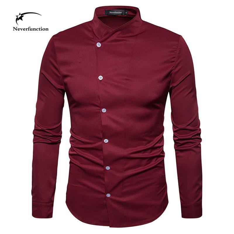4f9a1342a Personnalité design de mode oblique bouton hommes chemises à manches  longues robe de mariée fête Slim Fit Henry col chemise pour hommes 4 couleur