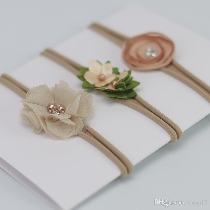 Baby Flower Headband White pearl Solid Color Girl Children Infant Baby Hairband Hair Accessories For Girls Princess Hairband 120001