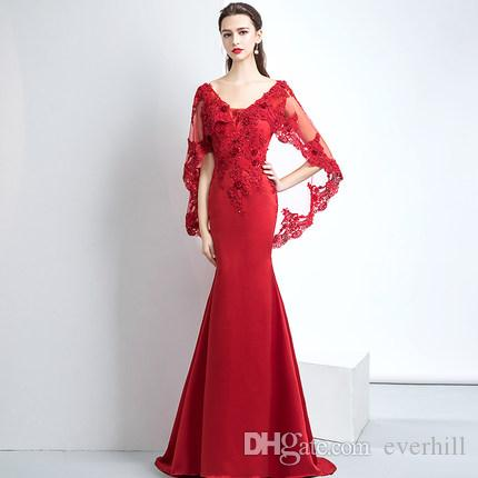 ce06d38b1 Compre Vestidos De Noche Elegantes De La Sirena Larga De Borgoña Con El  Cabo Corto Que Rebordea El Cordón Vestidos Formales Ajustados Apretados Del  Vestido ...