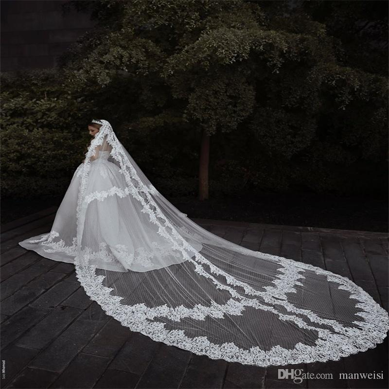 eedfea381c Cheap Ivory White Cathedral Length Wedding Veils 1T One Layer Lace ...
