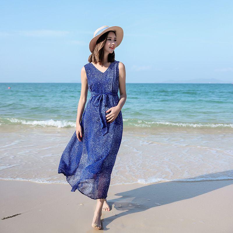 7912792ae21e 2019 Boho Beach Style Maternity Long Dress Summer Fashion V Neck Sleeveless  Ties Waist Clothes For Pregnant Women Pregnancy From Mingway245