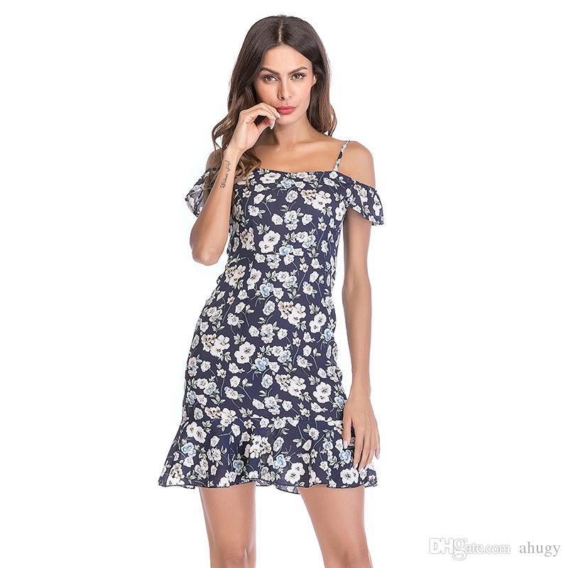 Sommer Frauen Chiffon Lotus Pendel Flying Schulter Kleider 2018 Halfter Exposed Blatt Sleeve Blumenkleid Rock uJ1Fc3TlK