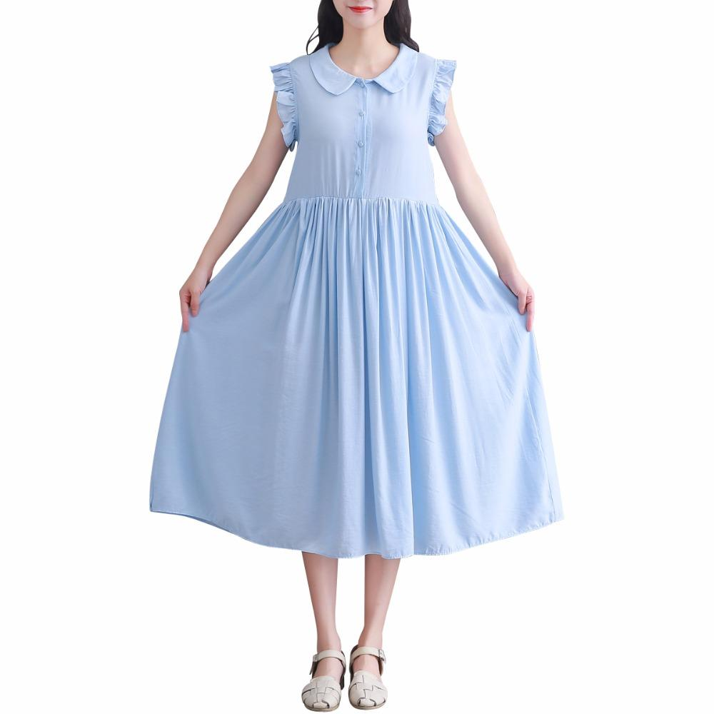 720b28bb23 Vestidos Verano 2018 Summer Women Casual Clothes Peter Pan Collar Cotton  Loose Long Dress Elegant Blue Sweet Midi Kawaii Dresses