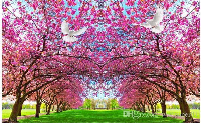 Acquista Carta Da Parati 3d Murale Soggiorno Cherry Blossom Fiori