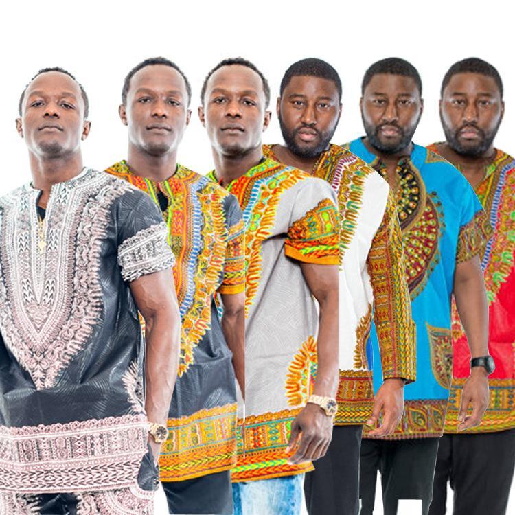 2019 Men Tops Print Dress Retro African Tee National
