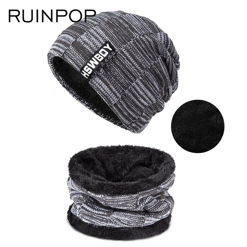 RUINPOP New Fashion Men Warm Hats Scarf Winter Knitting Beanies Hat Male  Unisex Women Men Hat Ring Scarf Set Scarf Hat   Glove Sets Cheap Scarf  Online with ... 68f1dfd17a0a