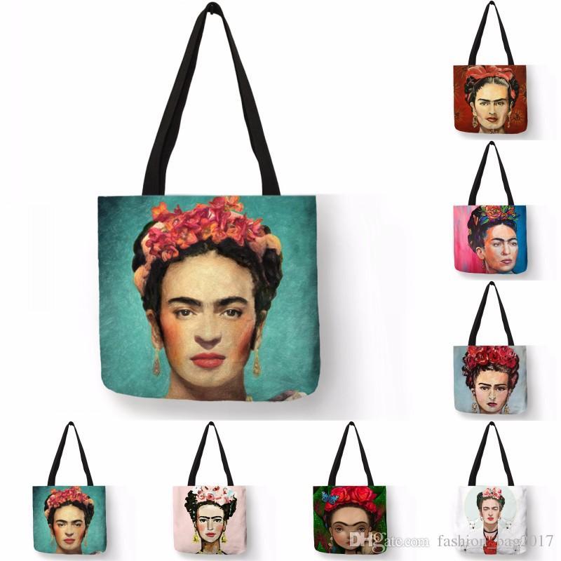 Home Travel Folding Storage Bag Clothes Food Frida Kahlo Print Eco ...