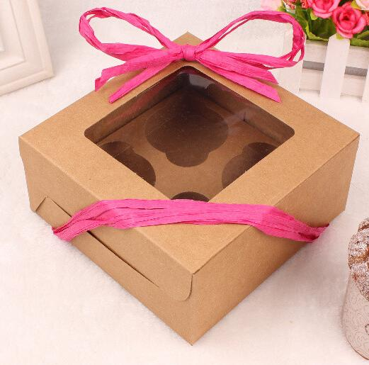 80x90x75mm diy paper box for cake brown kraft paper cake boxes muffin cupcake box with window for wedding baby shower christmas favours for wedding favours