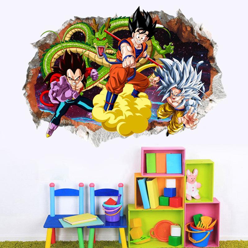 3D Dragon Ball Dos Desenhos Animados Adesivos de Parede Quarto de Crianças Adesivo de Parede Decorativo Adesivos Removíveis Super Saiyan Papel PVC À Prova D 'Água