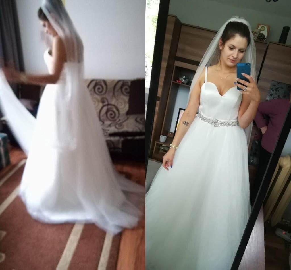 2018 bretelles spaghetti en mousseline de soie des robes de mariée Une ligne de plage d'été balayage train sweetheart dentelle Tulle Robes de mariée robes de mariée