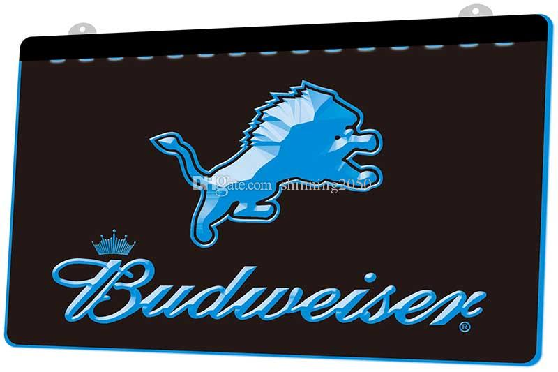 367fa739 LS2005-b- Detroit Lions Budweiser Bar 3D LED Neon Light Sign Decor Free  Shipping Dropshipping Wholesale 6 colors to choose