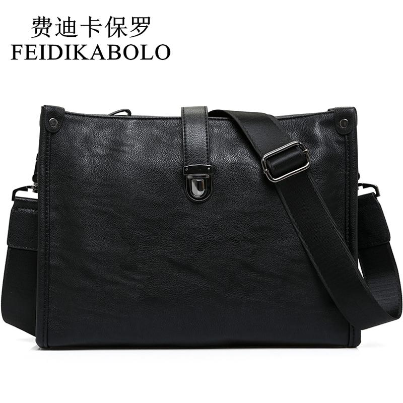FEIDIKABOLO Latest Arrival Black Leather Messenger Bag Mens Cross Body Shoulder Bags Luxury Business Envelope Bag Male Satchel