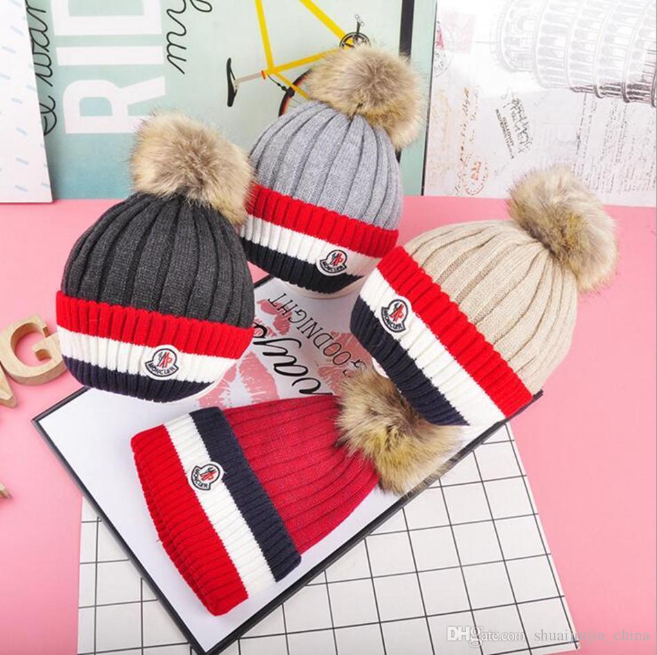 3e445db198f Kids Mon Pom Pom Beanie Hat Striped Knitted Caps With Fuzzy Ball Skiing  Warm Skull Cap OOA3858 Straw Hats Crochet Hat From Shuaijinjin china