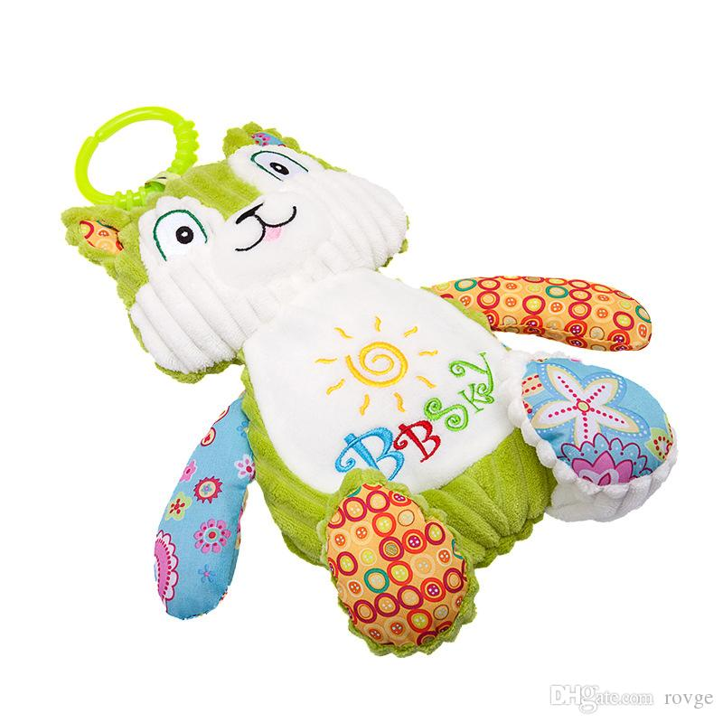 New high quality cute brown squirrel comfort doll plush toy green squirrel companion doll baby toy