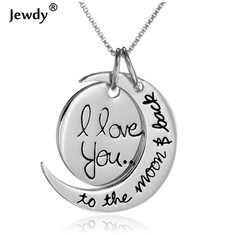 Wholesale i love you to the moon and back silver necklace love wholesale i love you to the moon and back silver necklace love forever moon choker pendant necklace for women men couple lovers gifts silver heart pendant mozeypictures Images