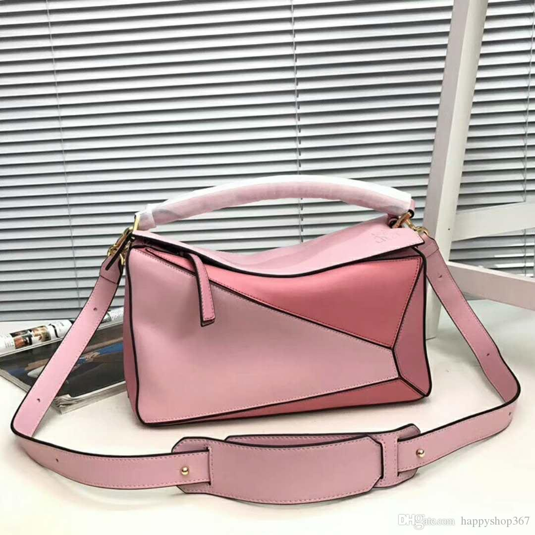 bc40a91ff22 2018 New Fashion Cowhide Handbag Women SHOULDER BAG Pure Color Jigsaw  Puzzle Bag L0153 30CM Leather Backpack Purse Handbags For Sale From  Happyshop367, ...