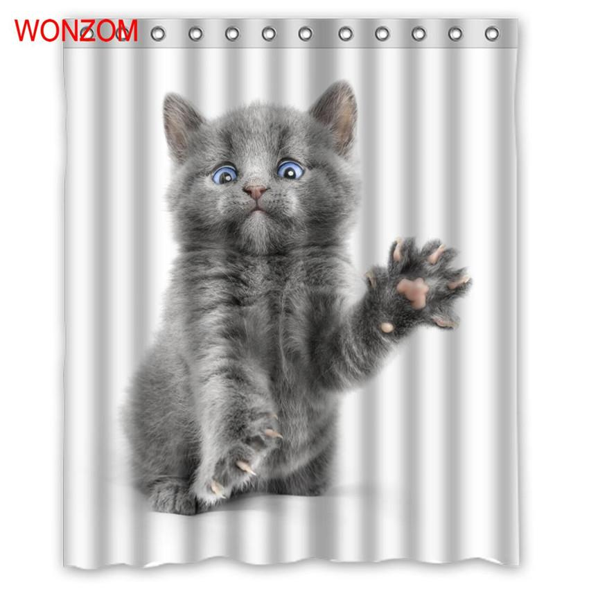 2018 wonzom cat shower curtains bathroom with 12 hooks waterproof accessories for decor modern animal bath curtain new gift from china_smoke - Cat Curtains