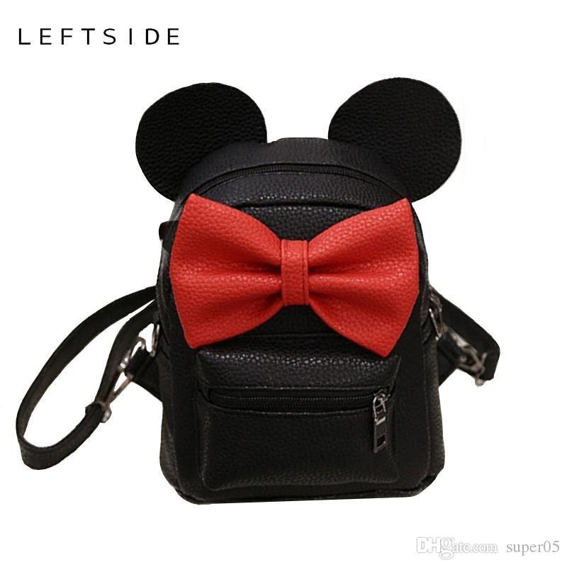 d0253a2ae9 LEFTSIDE 2018 Summer New Female Bag Quality Pu Leather Women Bag Cute  Animal Backpacks Ears Sweet Bow College Wind Mini Backpack Shoulder Bags  For Women ...