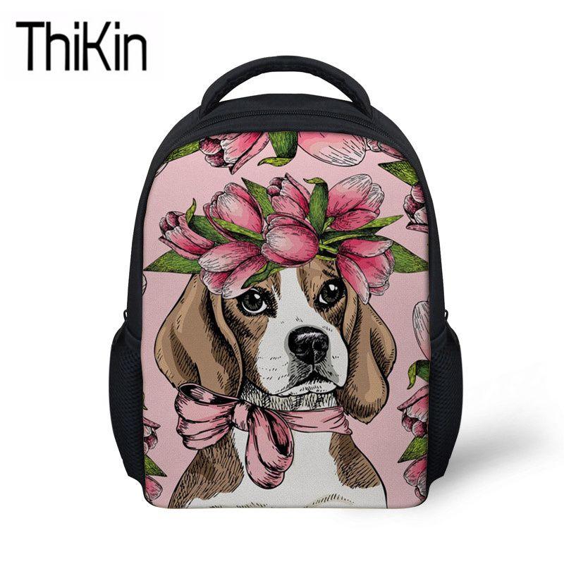 d2e24ff40045 THIKIN Cute Girls Beagle Flower Printing School Bags For Kids Mini  Kindergarten Backpack Children Shoulder Bagpack Baby Satchel Small Backpack  Laptop ...