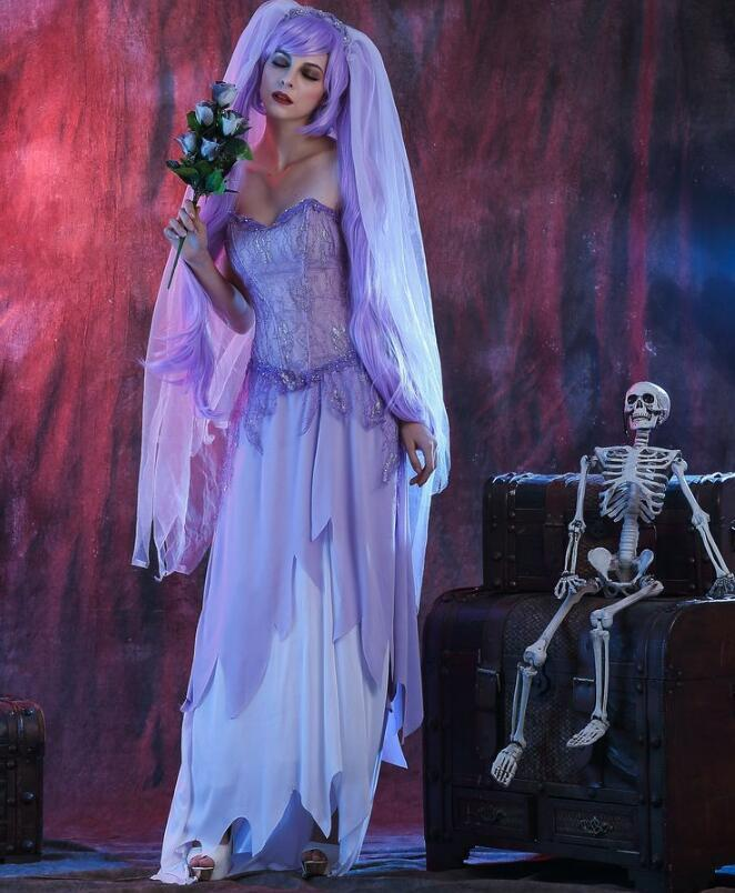 New Halloween Party Corpse Bride Scary Cosplay Costume Dress Masque Costumes