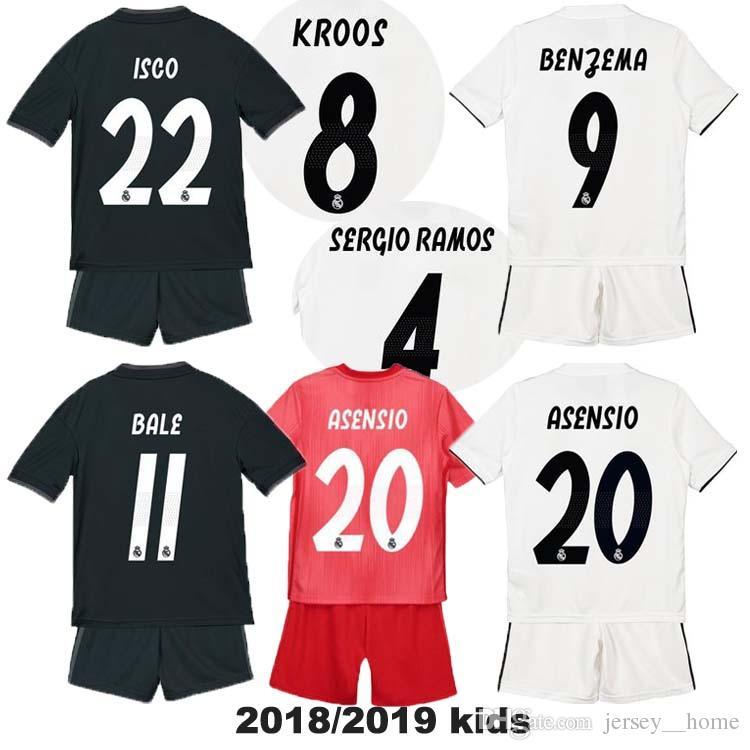 7567c3d4ce Compre 18 19 Niños Real Madrid Inicio Camiseta Blanca De Fútbol ASENSIO  BALE LUCAS V MORATA JAMES RAMOS ISCO MODRIC Lejos Negro Niño Camiseta De  Fútbol 2018 ...