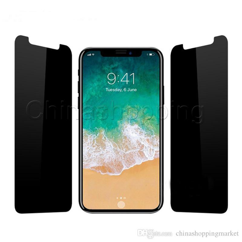 Privacy Verre tempéré Protecteur d'écran peeping anti-espion pour iPhone 12 Mini 11 Pro Max x XR XS MAX 8 7 6 6S Plus avec le paquet de vente au détail