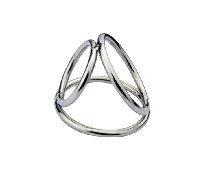 cock rings cage triple rings for penis ball bondage gear restraints stainless steel adult sex toys for men small large XCXA172