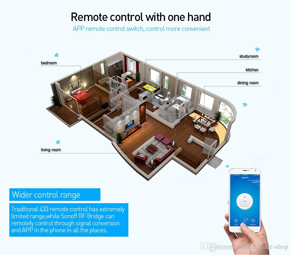 Originale Sonoff RF Bridge Aggiornamento 433 Smart Home Automation Module Interruttore Wifi Timer universale Fai da te 433Mhz Sostituzione del telecomando