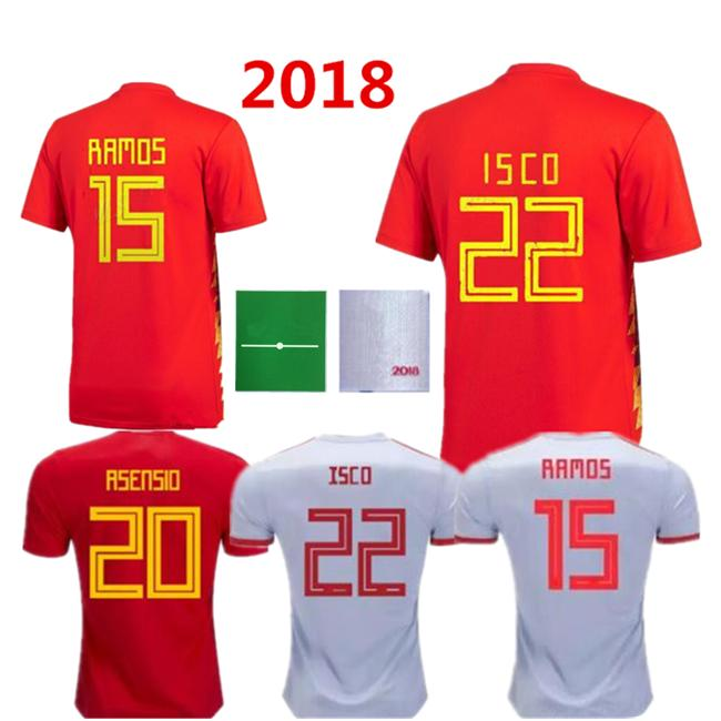 6d890a60824 2019 Men 2018 Spain World Cup Espana Morata Soccer Jersey A.INIESTA  FABREGAS RAMOS DIEGO COSTA SILVA ISCO Home Red Away Jerseys Football Shirts  From ...