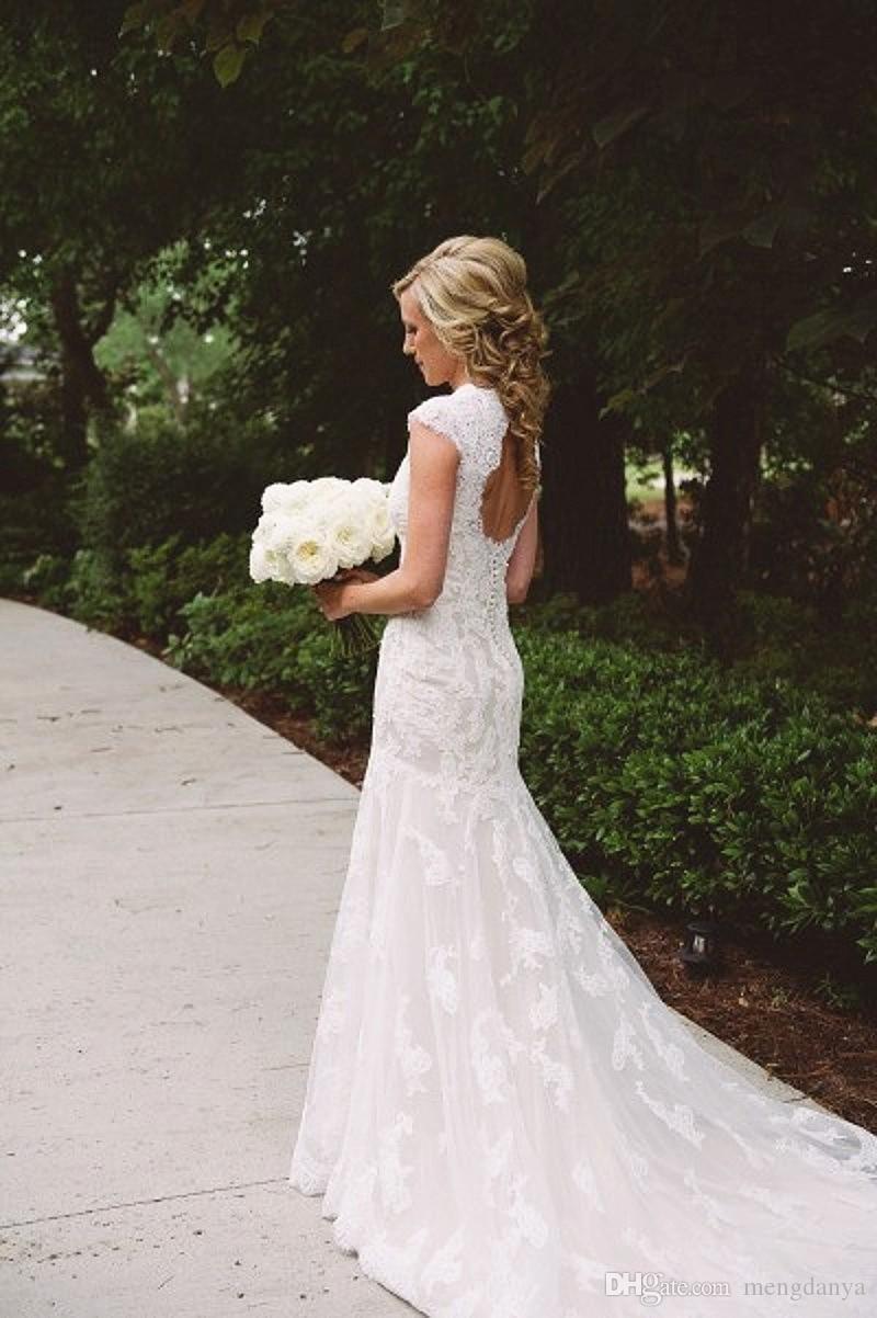 Großhandel 20 Landhausstil Brautkleider Meerjungfrau V Ausschnitt  Backless Sweep Zug Spitze Und Applikationen Romantische Brautkleider Kleid  Vestido