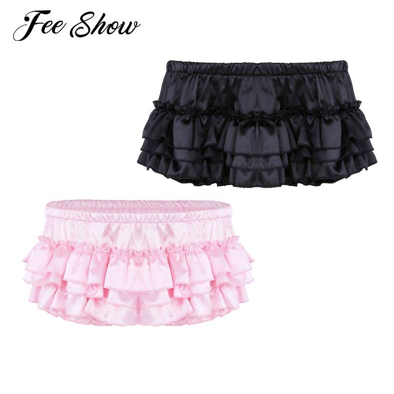 c10a5853b 2019 Mens Lingerie Soft Shiny Sissy Briefs Satin Ruffled Bloomer Tiered  Skirted Panties Sissy Briefs Good Stretchy Underwear Panties From Keviny
