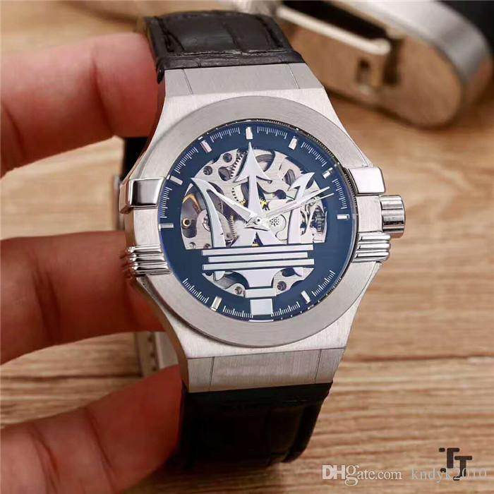 Fashion Brand import Hollow out Automatic Core 904L Stainless steel Leather strap+Pin buckle Mineral tempered glass Men Watch