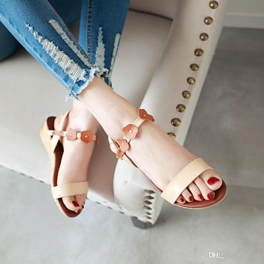 Factory Price Pu Leather Wedges Women Sandals Buckle Strap Ankle