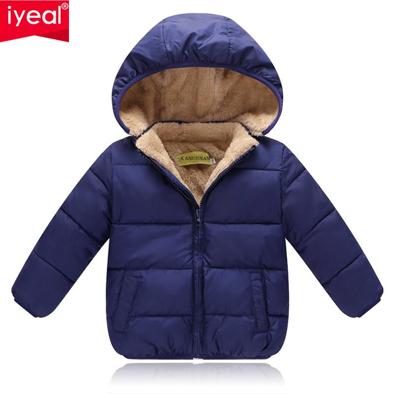 e7045c5cf IYEAL Kids Winter Jackets 2018 New Solid Hooded Baby Girls Boys ...