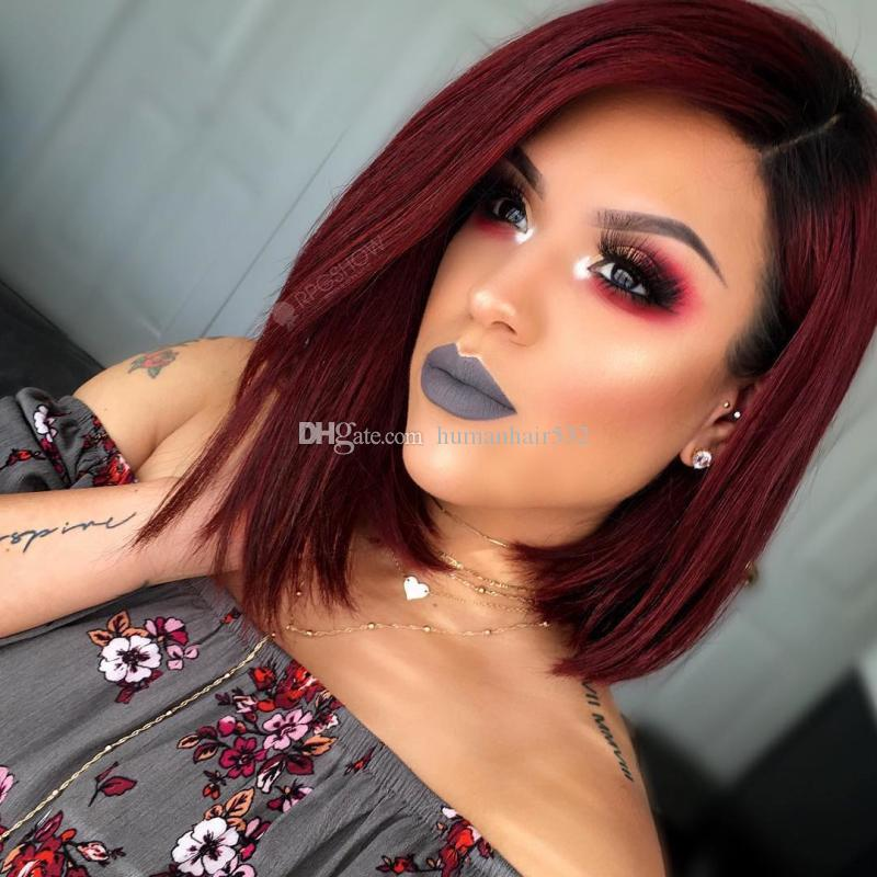 Lace Front Human Hair Wigs For Black Women T1B 99j Pre Plucked Brazilian Remy Hair Ombre Straight Short Bob Wigs With Baby Hair